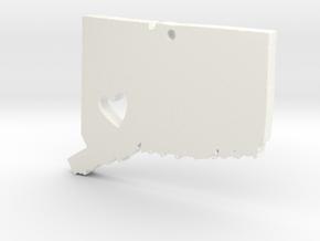 I love Connecticut Necklace in White Processed Versatile Plastic