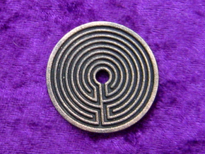 Labyrinth coin in Polished Grey Steel
