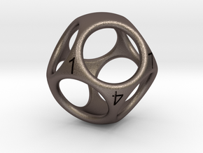 D8 Shell Dice - Gen 2 in Polished Bronzed Silver Steel