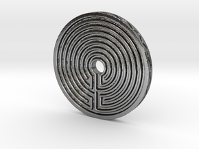 Labyrinth coin in Polished Silver