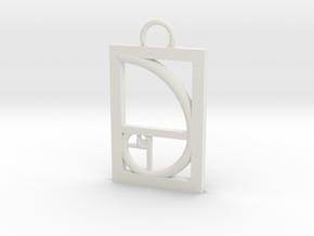 Golden Ratio Pendant in White Natural Versatile Plastic