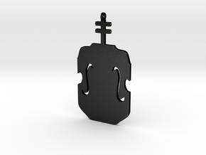 Violin Pendant in Matte Black Steel