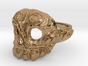 Dr.K Skull Ring Size 5 in Polished Brass