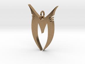 """Pendentif Bionicle - """"M"""" (Makuta) in Natural Brass"""