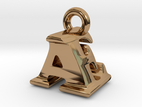3D Monogram Pendant - AEF1 in Polished Brass