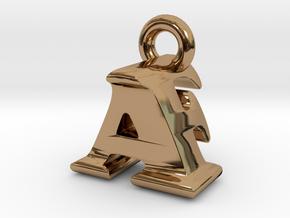 3D Monogram Pendant - AFF1 in Polished Brass