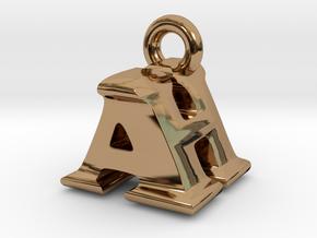 3D Monogram Pendant - AHF1 in Polished Brass