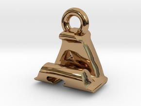 3D Monogram Pendant - AJF1 in Polished Brass