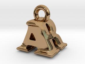 3D Monogram Pendant - ARF1 in Polished Brass
