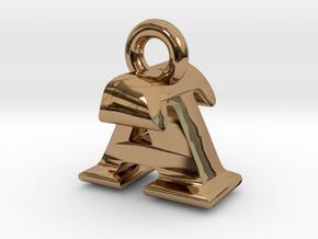 3D Monogram Pendant - ATF1 in Polished Brass