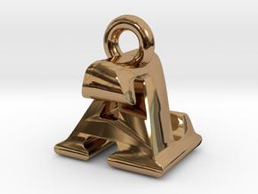 3D Monogram Pendant - AZF1 in Polished Brass