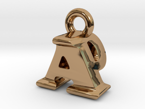 3D Monogram Pendant - APF1 in Polished Brass