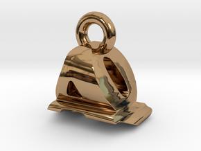 3D Monogram Pendant - AQF1 in Polished Brass