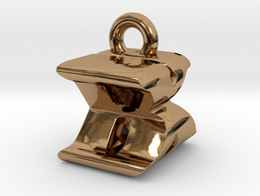 3D Monogram Pendant - BXF1 in Polished Brass