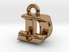 3D Monogram Pendant - DJF1 in Polished Brass