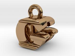 3D Monogram Pendant - GDF1 in Polished Brass
