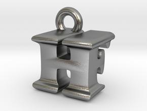 3D Monogram Pendant - HFF1 in Natural Silver