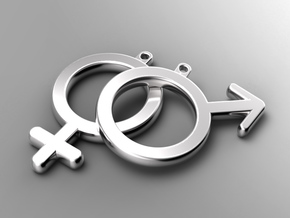Male - Mars - Gender Symbol in Natural Silver