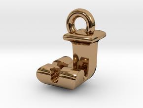 3D Monogram Pendant - JJF1 in Polished Brass