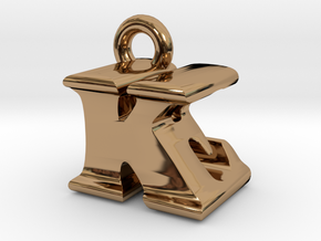 3D Monogram Pendant - KEF1 in Polished Brass