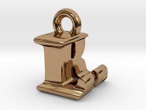 3D Monogram Pendant - LRF1 in Polished Brass