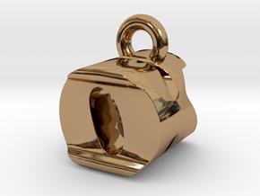 3D Monogram Pendant - OKF1 in Polished Brass