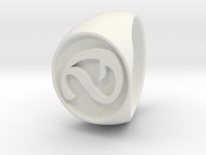 Custom Signet Ring 3 in White Natural Versatile Plastic