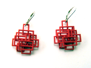 Pair Square Dangle Earrings in Red Processed Versatile Plastic