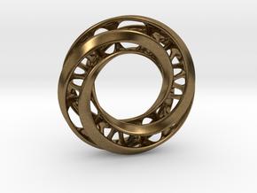 Mobius Ring Pendant v4 in Natural Bronze