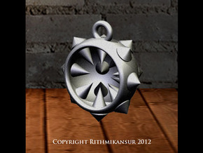 Inverted Half Mace Pendant in Polished Bronzed Silver Steel