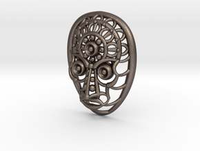 Face Pendant in Polished Bronzed Silver Steel