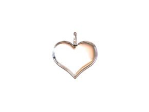 "Necklace Pendant ""HEART"" *small* in White Natural Versatile Plastic"
