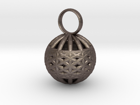 Ornament Pendant in Polished Bronzed Silver Steel