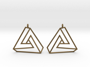 Impossible earrings with a twist  in Polished Bronze