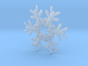 Snow Flake 6 Points E 4cm in Smooth Fine Detail Plastic