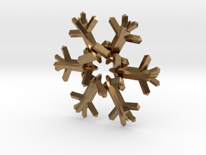 Snow Flake 6 Points D - 5cm in Natural Brass