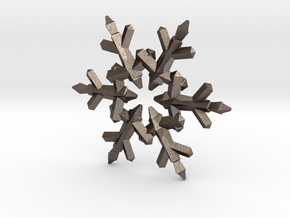 Snow Flake 6 Points C - 5cm in Polished Bronzed Silver Steel