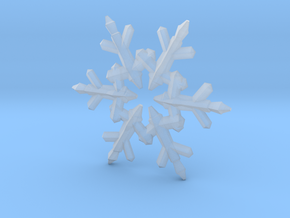 Snow Flake 6 Points C - 5cm in Smooth Fine Detail Plastic