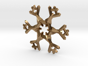Snow Flake 6 Points A - 5cm in Natural Brass