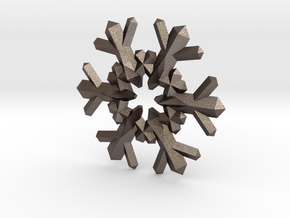 Snow Flake 6 Points F - 4cm in Polished Bronzed Silver Steel
