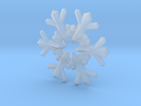 Snow Flake 6 Points F - 4cm in Smooth Fine Detail Plastic