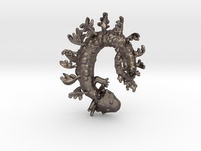 Leafy Salamander  in Polished Bronzed Silver Steel