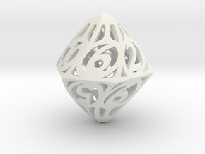 Twisty Spindle d12 in White Natural Versatile Plastic