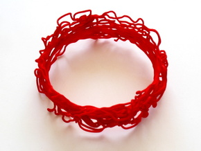 Turbulent Bangle 3 in Red Processed Versatile Plastic