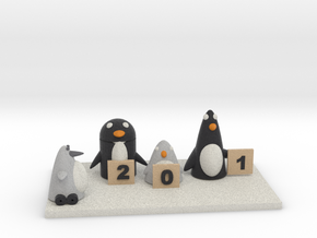 Robo Penguin Researching Penguins who rate him in Full Color Sandstone