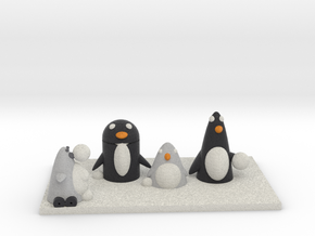 Snow Fight With Robo Penguin and real ones in Full Color Sandstone