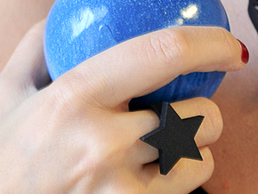 Star Ring (JR_0286_Star) in Black Natural Versatile Plastic