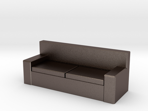Tiny Couch in Polished Bronzed Silver Steel