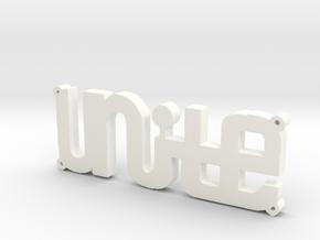 """""""UNITE"""" Bracelet Charm in White Processed Versatile Plastic"""