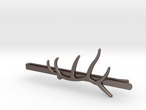 Elk Antler Tie Clip in Polished Bronzed Silver Steel